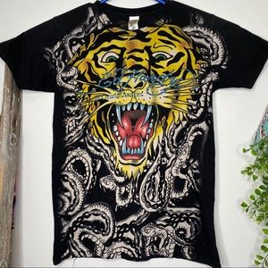 Ed Hardy saber tiger graphic bling t-shirt small